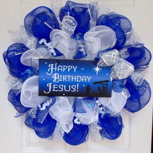 Happy Birthday Jesus Deco Mesh Inspirational Christmas Wreath