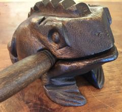 Large Dark Wooden Croaking Toad