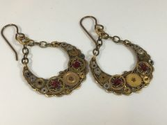 Brass Crescent Gear Earrings with Red Swarovski Crystals