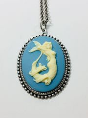 Mermaid Cameo Necklace Cream on Blue or Cream on Black