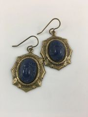 Blue Vintage Scarab Earrings