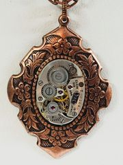 Copper Floral Border Pendant with Vintage Elgin Oval Watch Movement