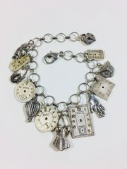Vintage Watch Dial Charm Bracelet in Silver Tone