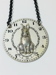 Silver Tone Bunny on Vintage Pocket Watch Dial