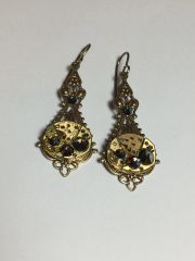 Small Brass Filigree Drop Earrings with vintage Watch Movements and Swarovski Crystals