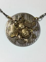 Large Brass Bee on Vintage Pocket Watch Dial