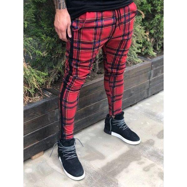3d2b489bf865d6 UK Men Plaid Check Casual Trousers Pants Joggers Lattice Jogging Slim Fit  Skinny