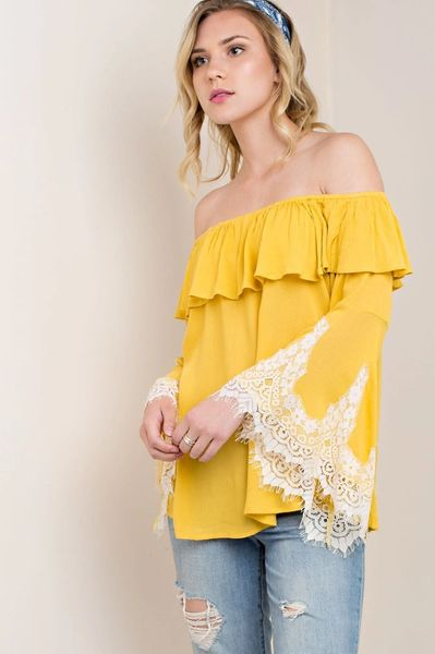 6d64f408f77d Lace  N  Ruffle Off Shoulder top